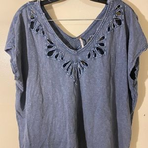 FREE PEOPLE Denim Blue Cut Out V-Neck Blouse